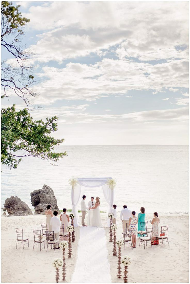 Setting of a symbolic rite on the beach for a destination wedding in Boracay, Philippines