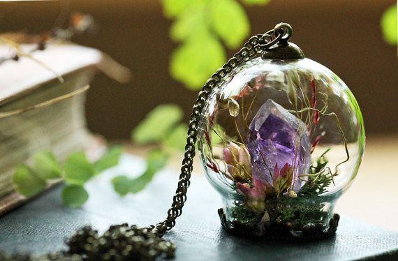 Amethyst kristal ketting, kristal terrarium ketting, kwarts punt, ruwe Amethist, paarse Amethist, groene mos terrarium, giften voor haar