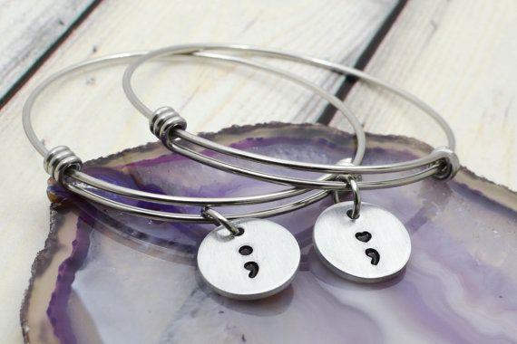 Semicolon Bracelet  Semicolon Jewelry  by WildTwistedRoots on Etsy