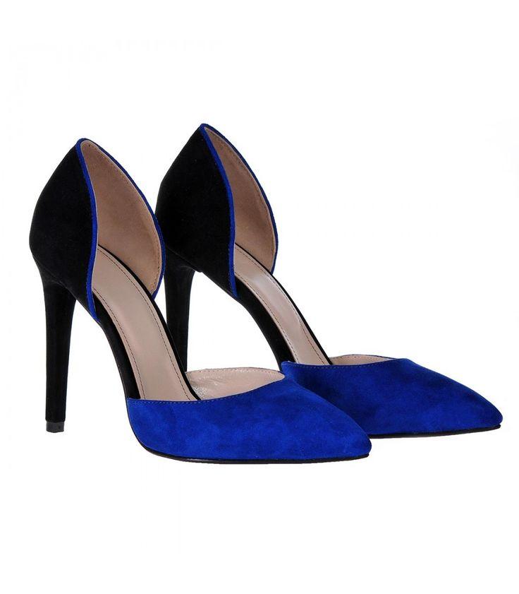 Pantofi Stiletto Decupati Piele Naturala Albastru - Negru - Cod S181