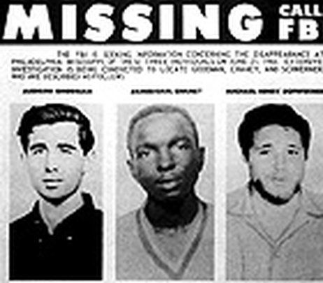 A missing persons poster for civil rights workers Andrew Goodman, James Earl Chaney and Michael Henr