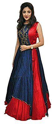 Z Fashion Women's Red & Blue Color Stylish Gown