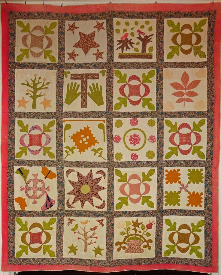 Quilt- Antique Sampler Applique 1800's Hand & Birds from cowhollowcollectibles on Ruby Lane