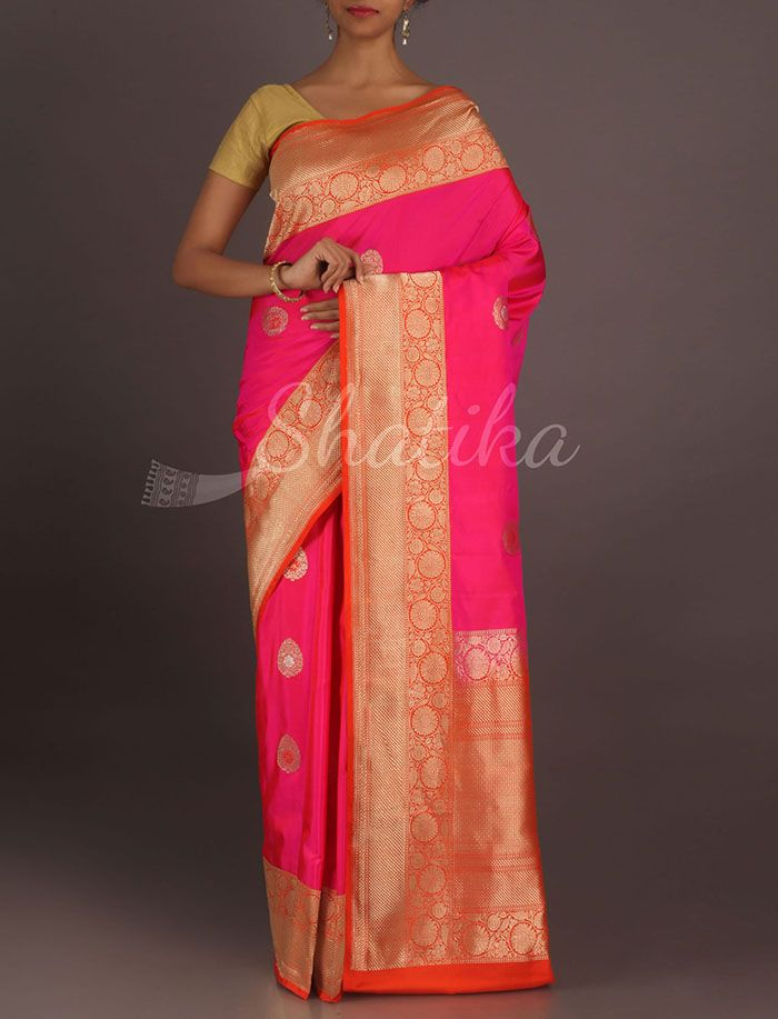 Dhaati Vibrant Pink And Orangeornate Border Pallu Real Zari Pure #KatanSilkSaree
