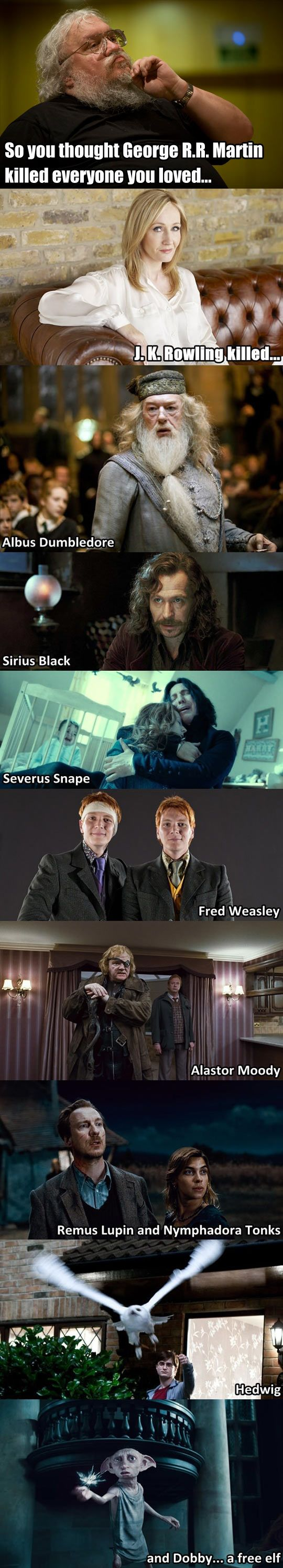and Lily and James. Even though Nevil's parents weren't killed their half life was even worse. And Colin Creevey, and Lavender, and Snape. And she was going to kill Ron!