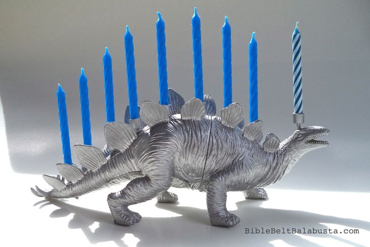 "I made this little menorah for a friend. WHY: ""Menorah-saurus"" was the punchline during a post-prandial chat at Carnegie Deli last month.  Someone—his wits dulled by a surfeit of latkes—remarked th..."