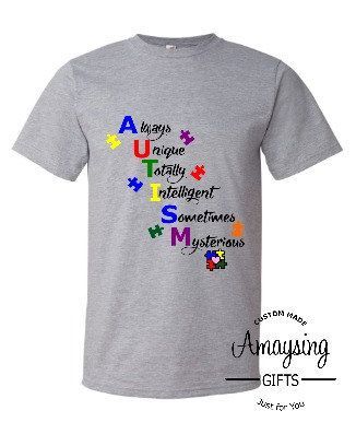 Womens T Shirt - Autism T Shirt - Autism Awareness - Always Unique Totally Intelligent Sometimes Mysterious - Autism Definition