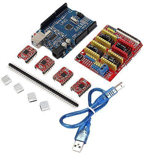 Geekcreit Cnc Shield Uno R3 Board 4Xa4988 Kit De Pilotes: broche et de direction, support de 4 axes (X, Y, Z, A-Peut copier X, Y, Z ou…