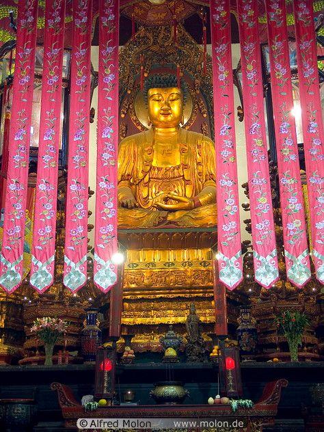 04 Temple interior with golden Buddha statue Jade Buddha Temple Shanghai༺ ♠ ༻*ŦƶȠ*༺ ♠ ༻
