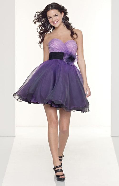Purple short poofy dresses cheap