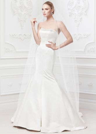 Truly by Zac Posen for David's Bridal, $550 // duchess satin fit and flare gown with geometric seaming, pearl embellished neckline and corseted back.