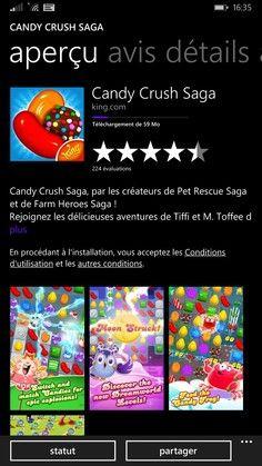 Candy Crush Saga disponible gratuitement sur le Windows Phone Store.