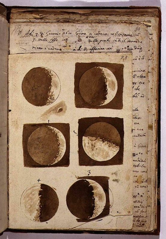 """wasbella102:    Sketches of the moon from Galileo's """"Sidereus Nuncius,"""" a short treatise  on Galileo's early observations of the Moon, the stars, and the moons  of Jupiter; it was the first scientific treatise based on observations  made through a telescope."""