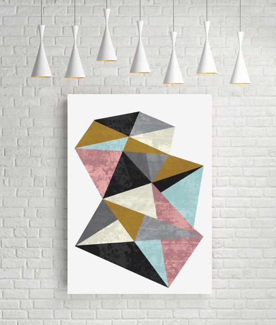 Mineral, geometric art, fine art print, room decor, abstract art, triangle art, original art gift, contemporary art, contemporary print