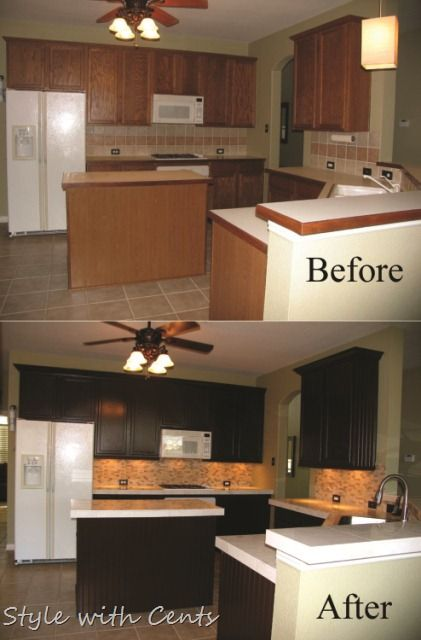 Painted Brown Kitchen Cabinets Before And After