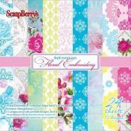 Floral Embroidery Papier pakket 24 vel 15,2x15,2cm