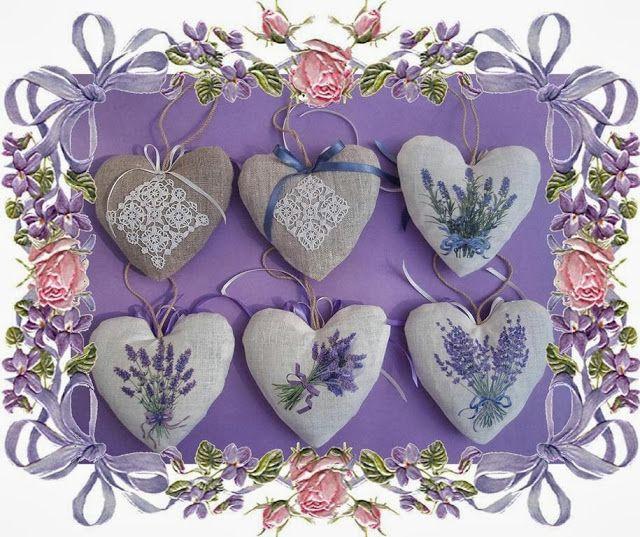 Les mains dans la tête: Coeurs en lin à la lavande