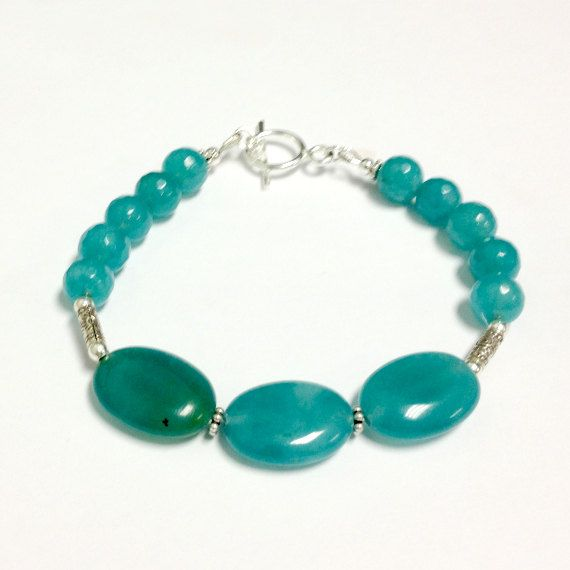 Blue Bracelet Jade Jewellery Sterling Silver by jewelrybycarmal, $30.00