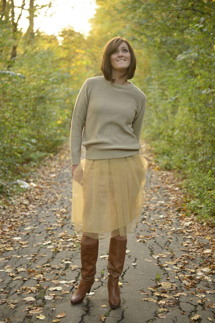 Yellow tulle skirt short autumn sunwaves