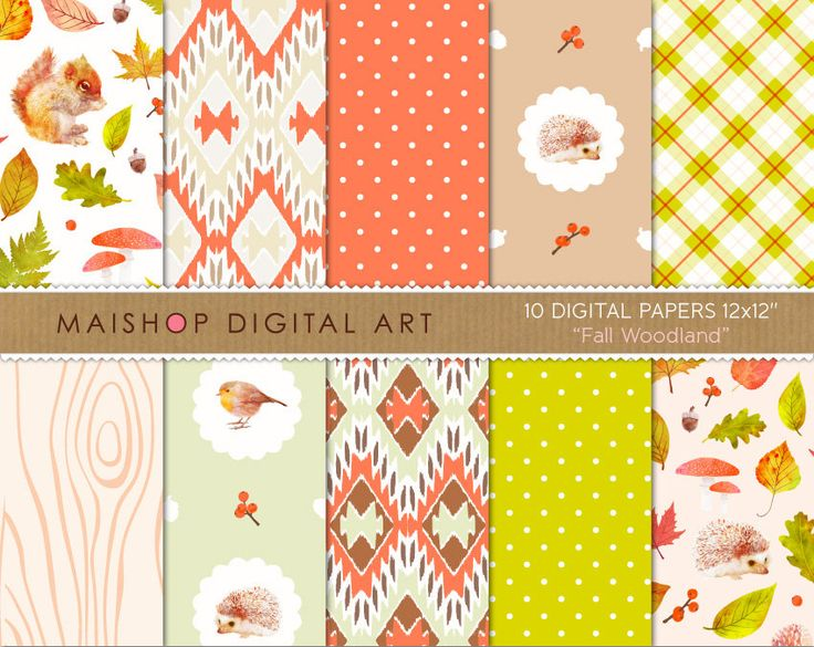 Digital Paper Pack 'Fall Woodland' Autumn Scrapbook Papers for Scrapbooking, Invitations, Stickers, DIY Projects, Decoupage, Cards... by MaishopDigitalArt on Etsy