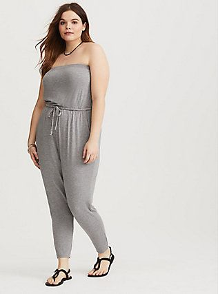 f929e30dd9be TORRID PLUS SIZE FASHION! Heather Grey Strapless Jersey Jumpsuit. Comfy  outfit for every day. Pair with flats