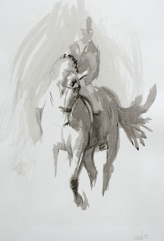 Beautiful Equine horse art LE print 'Ink by heatherirvinefineart