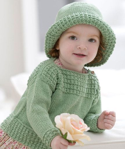 Free knitting pattern for Baby Boat Neck Sweater and Sun Hat - Grace Alexander designed this adorable comfortable pullover with matching hat for Red Heart. Sized for 6 months to 24 months.