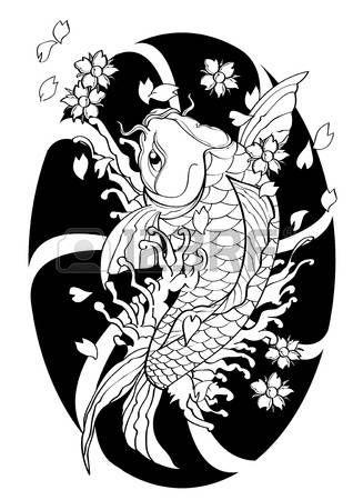 animales acuaticos: ilustración vectorial patrón gráfico de fondo del tatuaje de Koi peces estilo japonés forrado