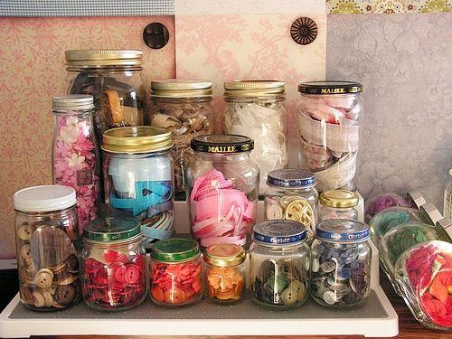 jars: Crafty Stuff, Crafts Rooms, Stores Crafty, Old Jars, Crafts Storage, Glasses Jars, Mason Jars, Craft Storage, Crafts Supplies