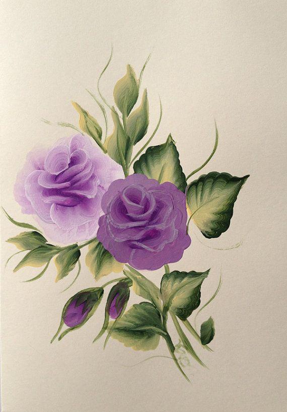 Pintado a mano rosa púrpura tarjeta de por KarenUnderwoodArt
