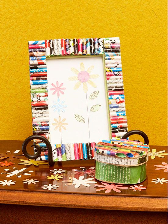 Magazine-Page Frame and Storage Box  Magazine-Page Frame and Storage Box  Make this fun picture frame and coordinating box by repurposing old magazines. Decorate a plain wood frame and cardboard box with colorful tubes crafted from magazine pages.  Learn More About This Project