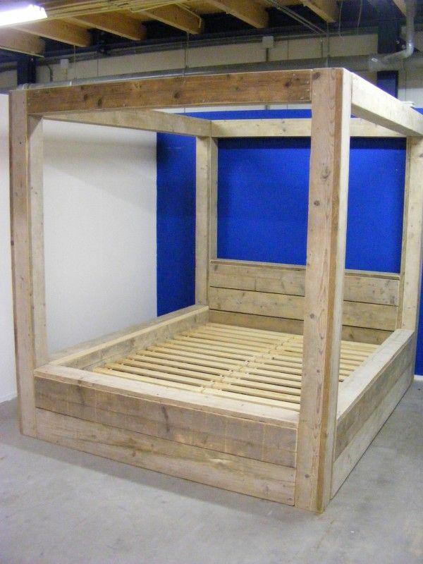 Tweepersoons hemel bed van steigerhout 12161830hmb 2 persoonsbedden jorg s houten meubelen - Houten bed ...