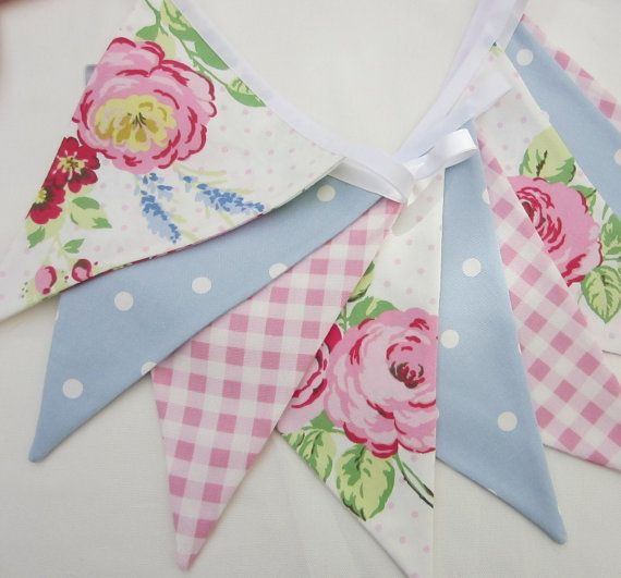 Fabric Bunting Shabby Chic Style English Rose Pink, Pale Blue Dotty, Pink Gingham 9 Double Sided Flags Pennant Banner, Baby Shower