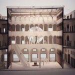 Modello di studio del progetto di Rem Koolhaas per il Fondaco dei Tedeschi a Venezia. Con l'inserimento di una scala mobile sollevabile e ruotabile. Copyright OMA