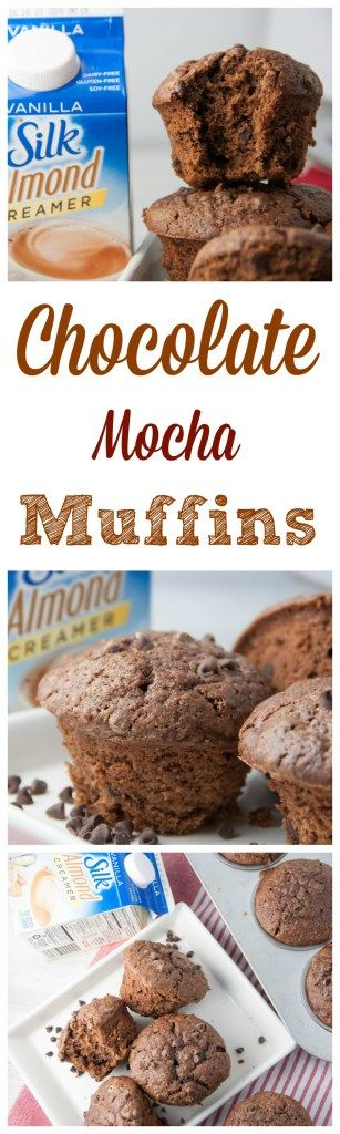 Chocolate Mocha Muffins- get you coffee and chocolate fix in these breakfast muffins made with Silk Almond Creamer!