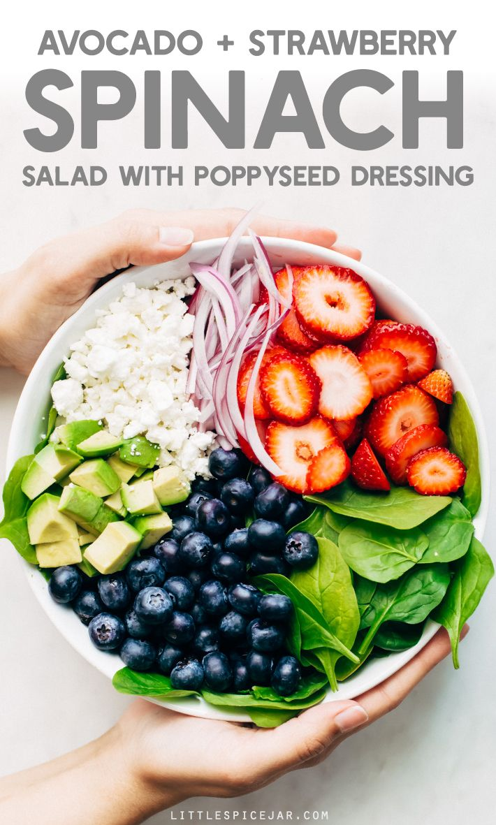 Avocado Strawberry Spinach Salad - topped with a citrusy poppyseed dressing. This salad is perfect for summer barbecues and picnics.