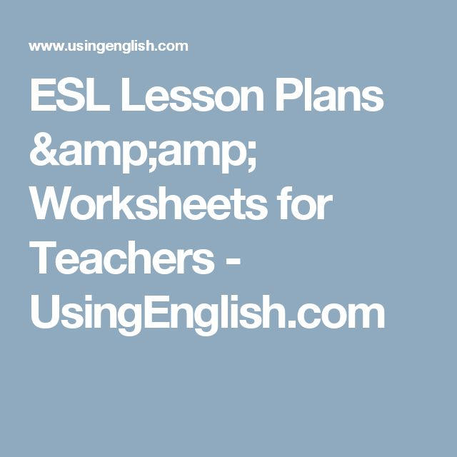 ESL Lesson Plans & Worksheets for Teachers - UsingEnglish.com