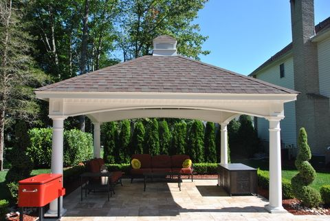 Traditional Gazebo with gray asphalt roof shingles