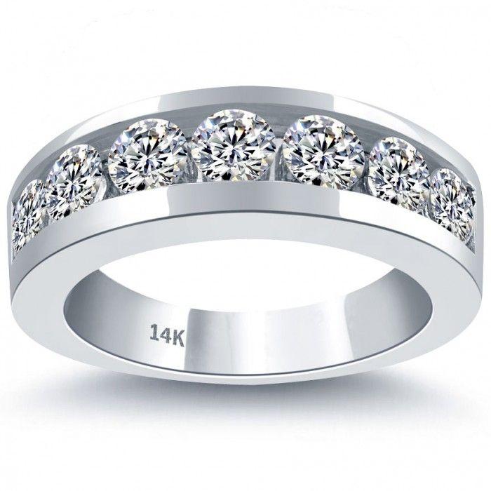 Merveilleux 2.10 Carat Natural Diamond Mens Wedding Band Ring 14k White Gold Men Ring   Menu0027s  Diamond