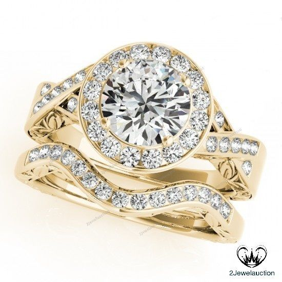 2.20Ct D/VVS1 Diamond In 14K Yellow Gold Finish Halo Engagement Bridal Ring Set…
