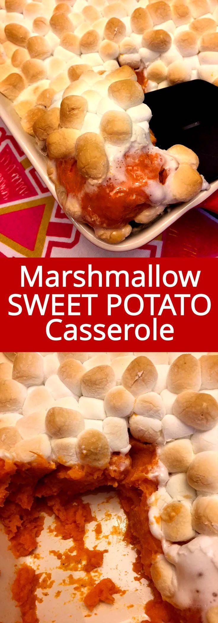 This sweet potato casserole with marshmallows on top is amazing! This is my favorite Thanksgiving dish!  Everyone loves sweet potato marshmallow bake! Golden brown marshmallows that are melted inside go so well with creamy sweet potatoes!