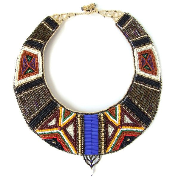 Love the patterns in this Samburu African bead embroidered necklace by Kankou, £335.00 #jewelry #tribal #beadwork