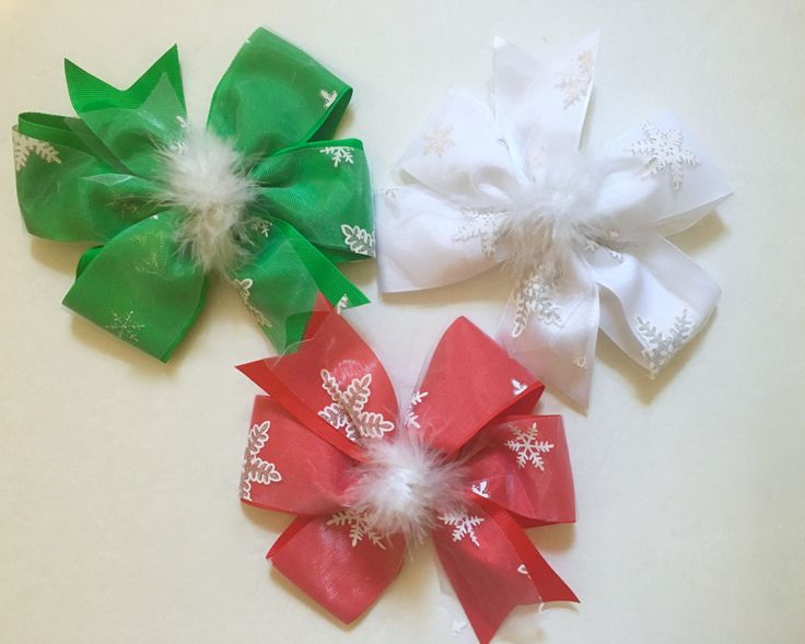 Christmas Hair Bows! Red Green White Snowflake Hair Bows.Holiday Portrait Hair Bows, Christmas Green and White, Red and White by FancyGirlBoutiqueNYC on Etsy