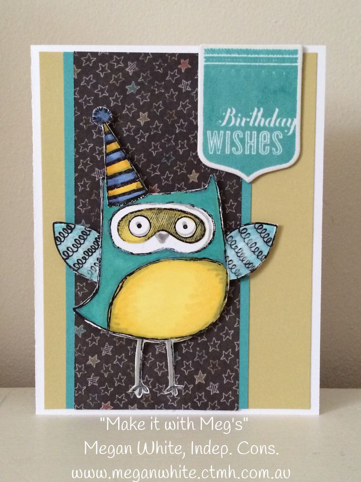 Love a little owl! And this stamp is so versatile and cute...can't wait to use him on some pages next.  Birthday card using CTMH Chalk it Up paper pack, Aug SOTM What a Hoot stamp set, cricut artiste birthday stamp set, dimensional elements awards.  Www.meganwhite.ctmh.com.au