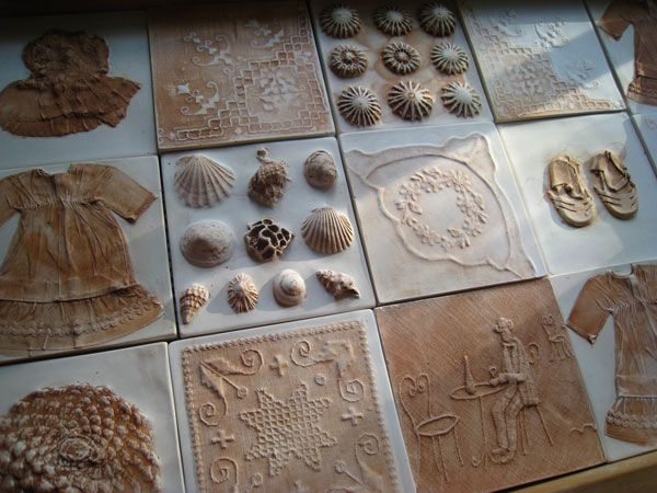 Tactile Studio--Natural objects pressed into wet clay for mold and plaster poured into wet clay mold.