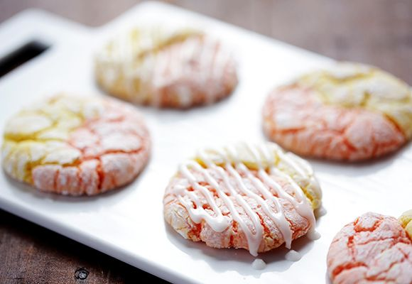 Strawberry Lemonade Cookies with icing.  Uses Lemon cake mix and Strawberry cake mix.