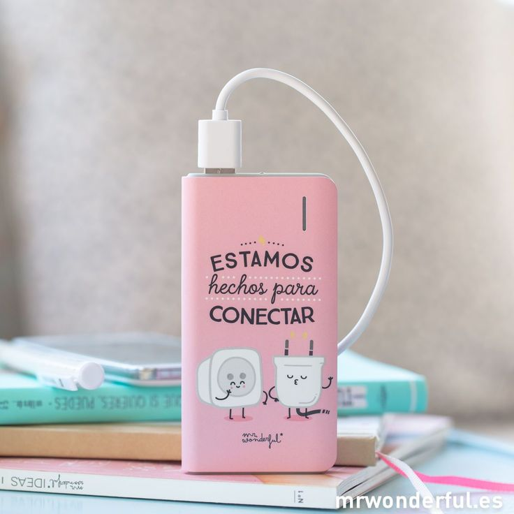 Power Bank - Estamos hechos para conectar. Igual que el wifi de tu casa y tu móvil, tú y yo estamos hechos para conectar. #mrwonderfulshop #powerbank #battery #connection #pink #phone #accessories #complements
