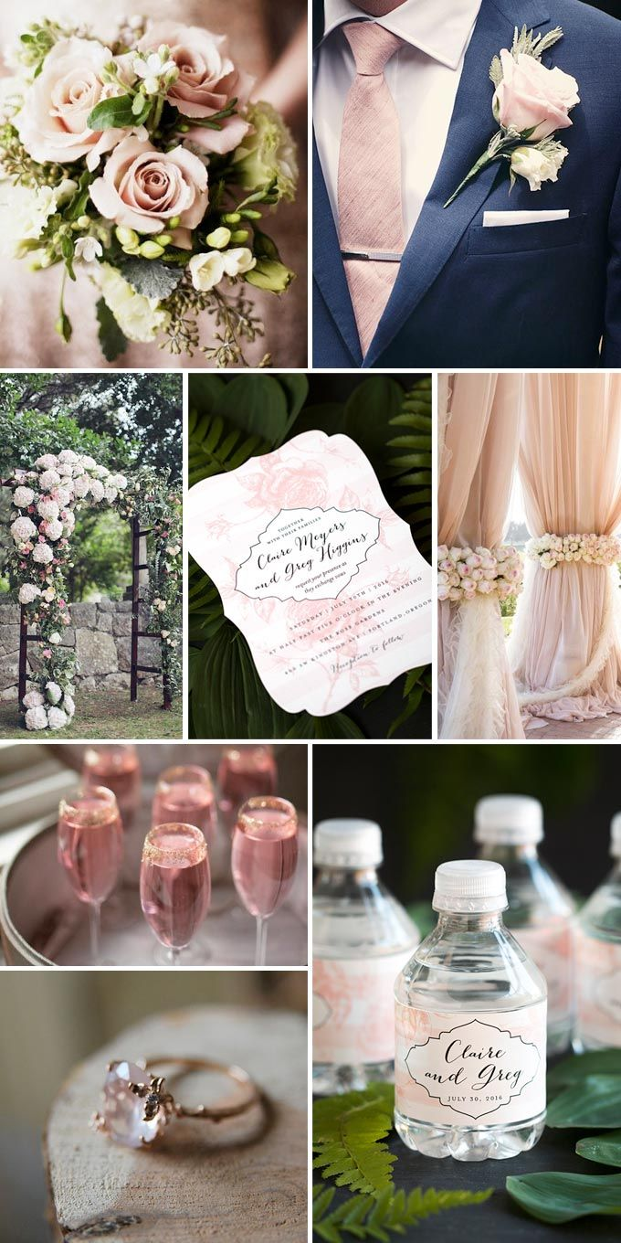 Few things are considered more classically romantic than this truly dreamy design featuring garden roses over a subtle striped background. Blush pinks combined with pops of silver or gold help bring out the richness and elegance of your wedding indoor and outdoor, any time of year