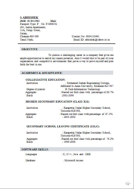 curriculum vitae format in ms word free download