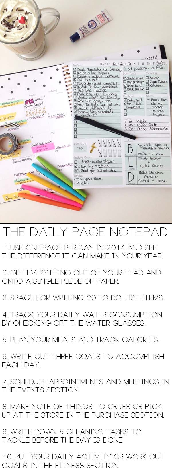 Organize your entire day on one sheet of paper with The Daily Page Notepad.